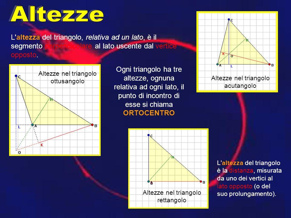 L'altezza del triangolo, relativa ad un lato, è il segmento perpendicolare al lato uscente dal vertice opposto. Ogni triangolo ha tre altezze, ognuna
