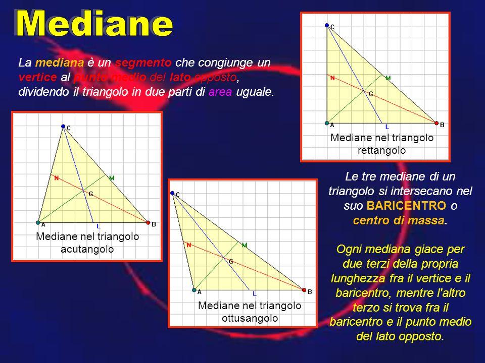 La mediana è un segmento che congiunge un vertice al punto medio del lato opposto, dividendo il triangolo in due parti di area uguale.