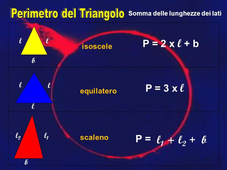 b ll l l l b l1l1 l2l2 isoscele scaleno equilatero P = 2 x l + b P = 3 x l P = l 1 +l2l2 + b Somma delle lunghezze dei lati