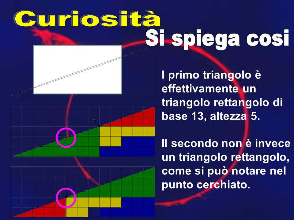l primo triangolo è effettivamente un triangolo rettangolo di base 13, altezza 5. Il secondo non è invece un triangolo rettangolo, come si può notare
