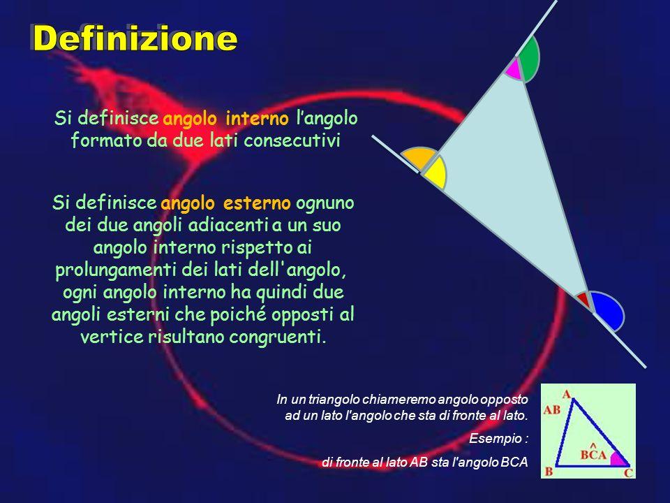 In un triangolo chiameremo angolo opposto ad un lato l'angolo che sta di fronte al lato. Esempio : di fronte al lato AB sta l'angolo BCA Si definisce