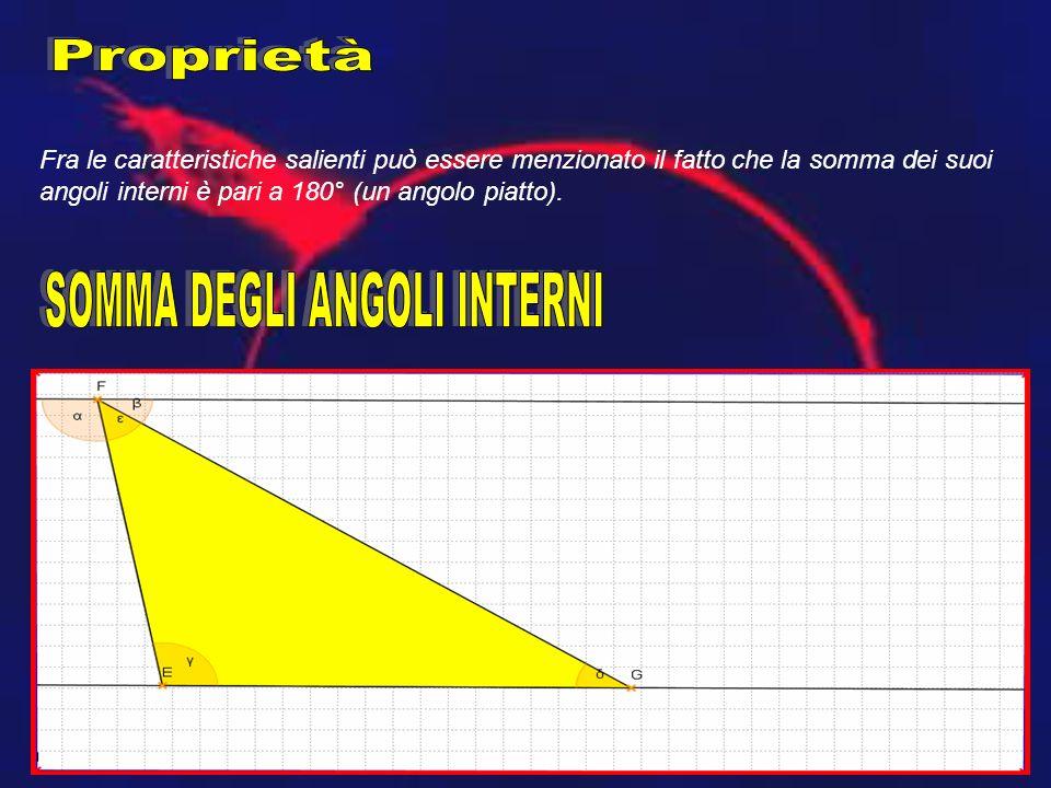 Fra le caratteristiche salienti può essere menzionato il fatto che la somma dei suoi angoli interni è pari a 180° (un angolo piatto).
