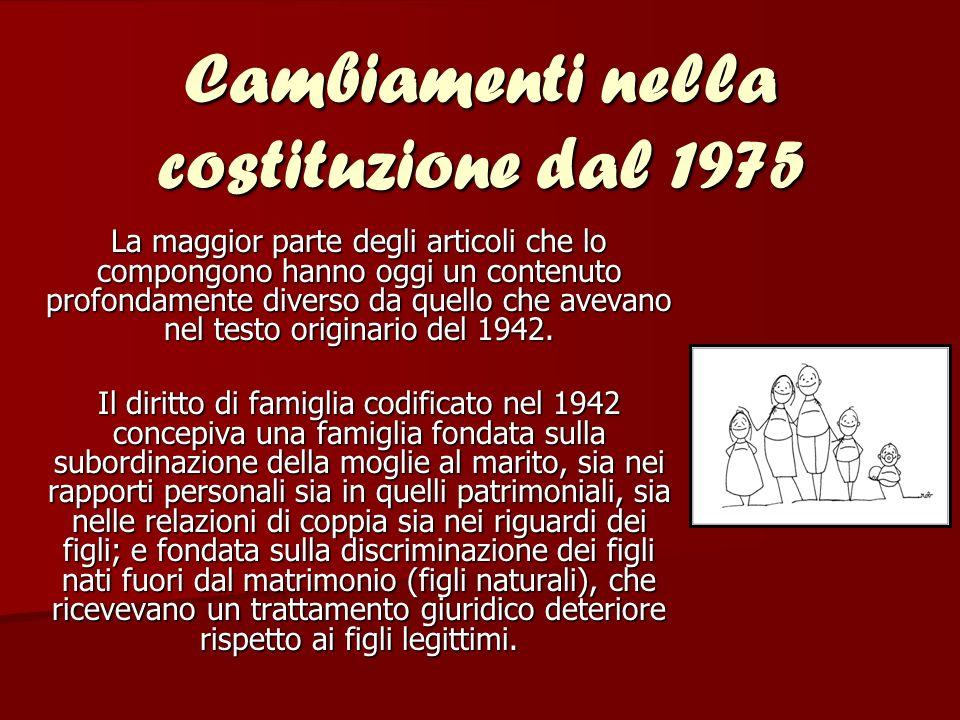 Il primo libro del codice venne riformato dalla Legge 19 maggio 1975, Riforma del diritto di famiglia , che apportò modifiche tese ad uniformare le norme ai principi costituzionali.