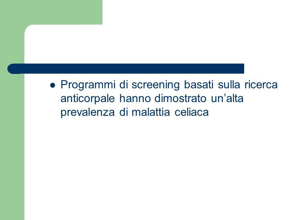 Programmi di screening basati sulla ricerca anticorpale hanno dimostrato unalta prevalenza di malattia celiaca