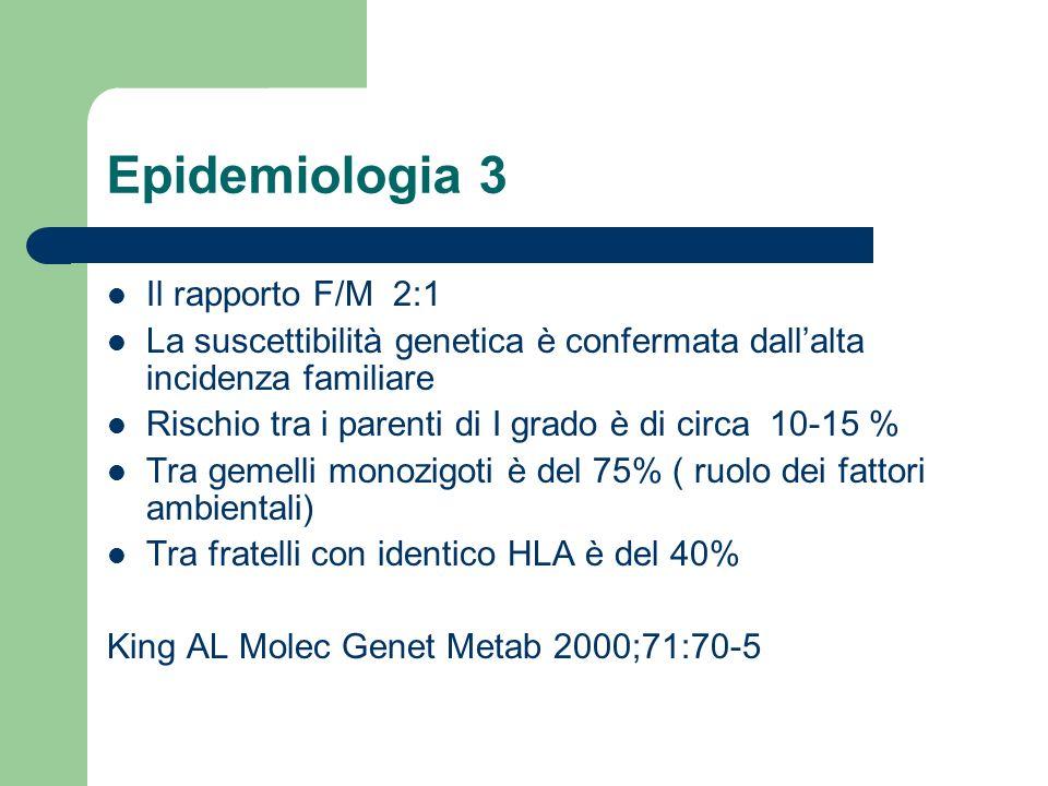 Epidemiologia 3 Il rapporto F/M 2:1 La suscettibilità genetica è confermata dallalta incidenza familiare Rischio tra i parenti di I grado è di circa 1
