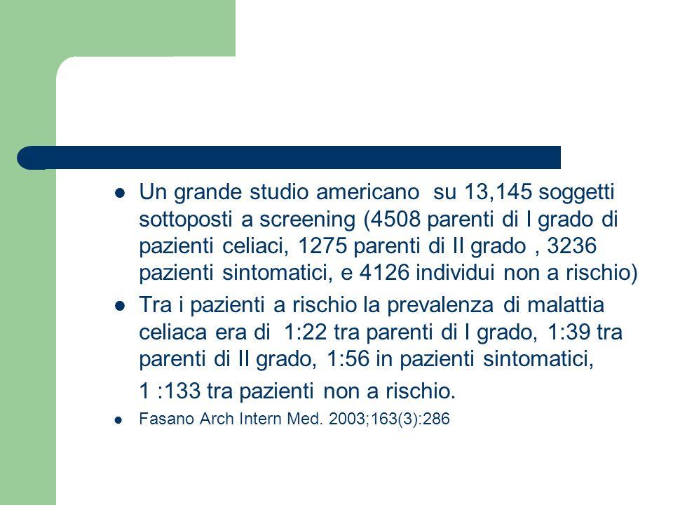 Un grande studio americano su 13,145 soggetti sottoposti a screening (4508 parenti di I grado di pazienti celiaci, 1275 parenti di II grado, 3236 pazi