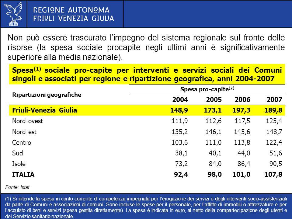 Non può essere trascurato limpegno del sistema regionale sul fronte delle risorse (la spesa sociale procapite negli ultimi anni è significativamente s