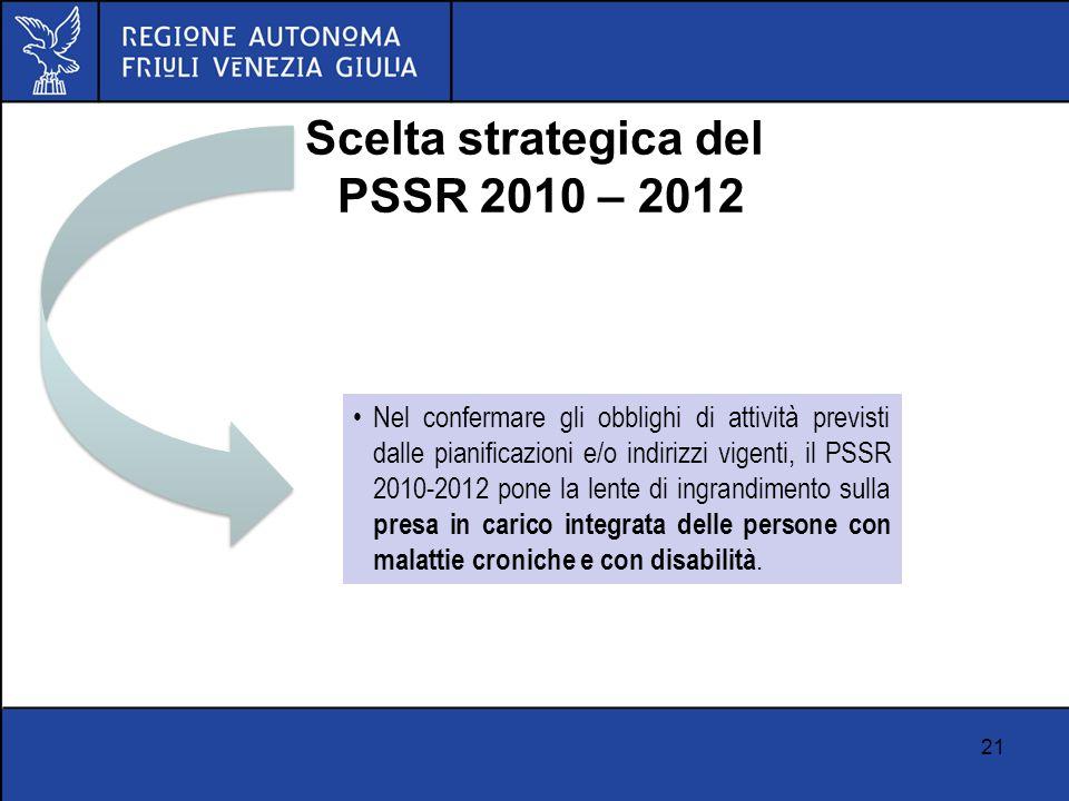 21 Scelta strategica del PSSR 2010 – 2012 Nel confermare gli obblighi di attività previsti dalle pianificazioni e/o indirizzi vigenti, il PSSR 2010-20