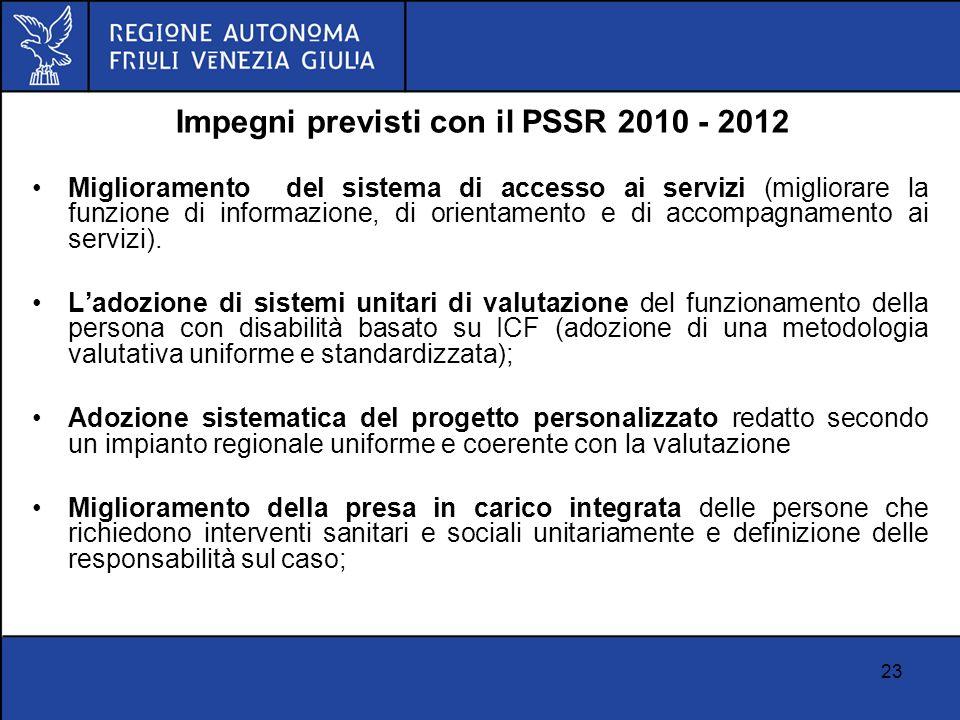 23 Impegni previsti con il PSSR 2010 - 2012 Miglioramento del sistema di accesso ai servizi (migliorare la funzione di informazione, di orientamento e
