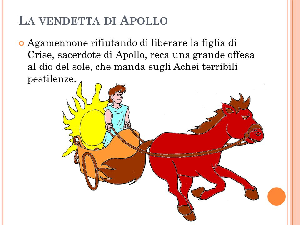 L A VENDETTA DI A POLLO Agamennone rifiutando di liberare la figlia di Crise, sacerdote di Apollo, reca una grande offesa al dio del sole, che manda s