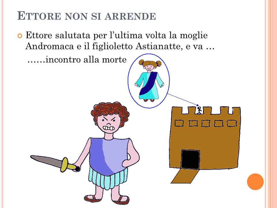 E TTORE NON SI ARRENDE Ettore salutata per lultima volta la moglie Andromaca e il figlioletto Astianatte, e va … ……incontro alla morte