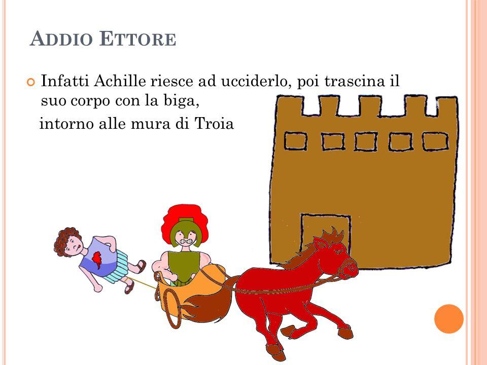 A DDIO E TTORE Infatti Achille riesce ad ucciderlo, poi trascina il suo corpo con la biga, intorno alle mura di Troia