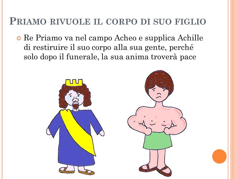 P RIAMO RIVUOLE IL CORPO DI SUO FIGLIO Re Priamo va nel campo Acheo e supplica Achille di restiruire il suo corpo alla sua gente, perché solo dopo il