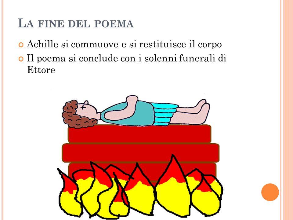 L A FINE DEL POEMA Achille si commuove e si restituisce il corpo Il poema si conclude con i solenni funerali di Ettore