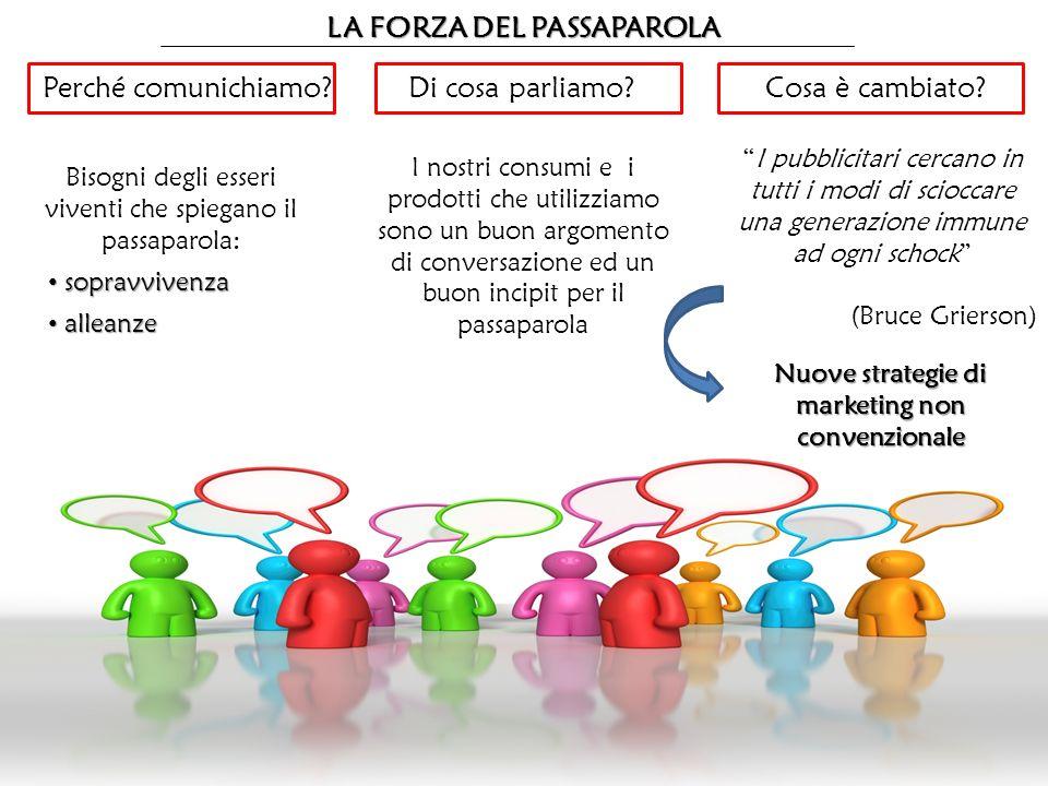 LA FORZA DEL PASSAPAROLA Perché comunichiamo? Bisogni degli esseri viventi che spiegano il passaparola: sopravvivenza sopravvivenza alleanze alleanze