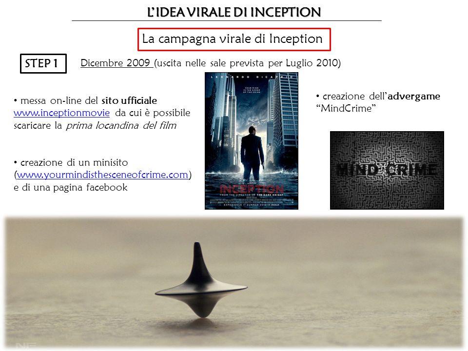 LIDEA VIRALE DI INCEPTION La campagna virale di Inception STEP 1 Dicembre 2009 (uscita nelle sale prevista per Luglio 2010) creazione delladvergame Mi