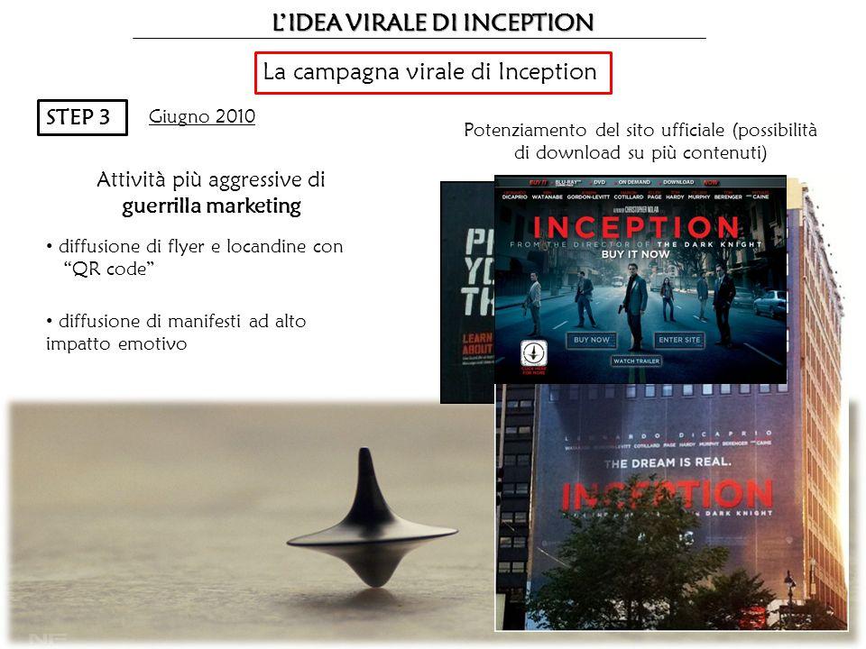 LIDEA VIRALE DI INCEPTION La campagna virale di Inception STEP 3 Giugno 2010 Potenziamento del sito ufficiale (possibilità di download su più contenut