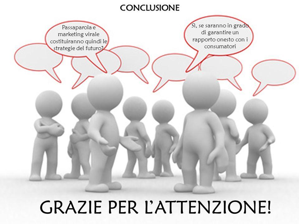 CONCLUSIONE Passaparola e marketing virale costituiranno quindi le strategie del futuro.