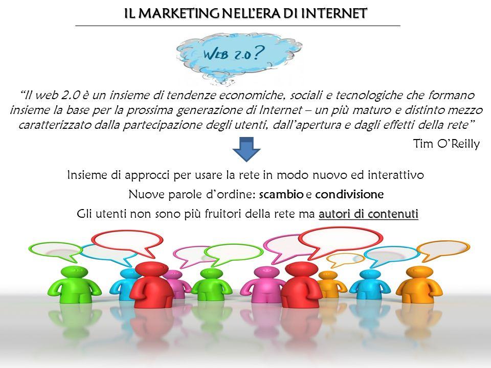 IL MARKETING NELLERA DI INTERNET Il web 2.0 è un insieme di tendenze economiche, sociali e tecnologiche che formano insieme la base per la prossima ge