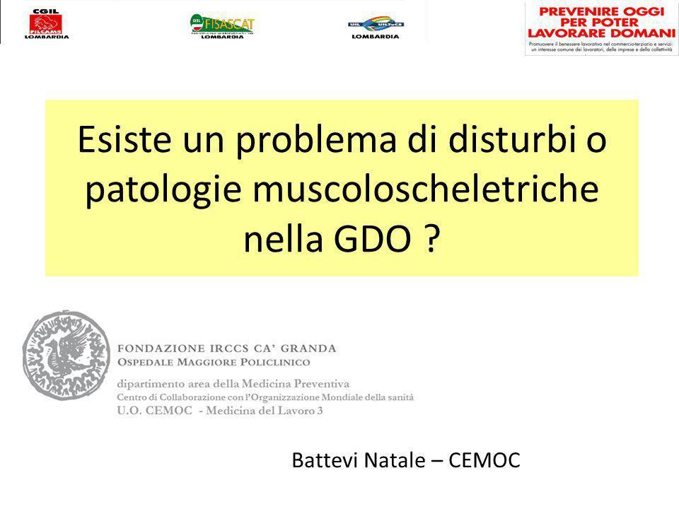 Esiste un problema di disturbi o patologie muscoloscheletriche nella GDO Battevi Natale – CEMOC