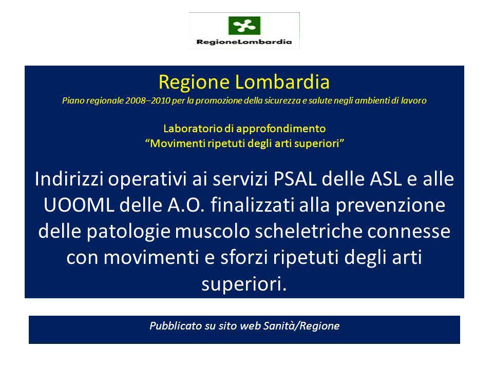 Regione Lombardia Piano regionale 2008–2010 per la promozione della sicurezza e salute negli ambienti di lavoro Laboratorio di approfondimento Movimenti ripetuti degli arti superiori Indirizzi operativi ai servizi PSAL delle ASL e alle UOOML delle A.O.