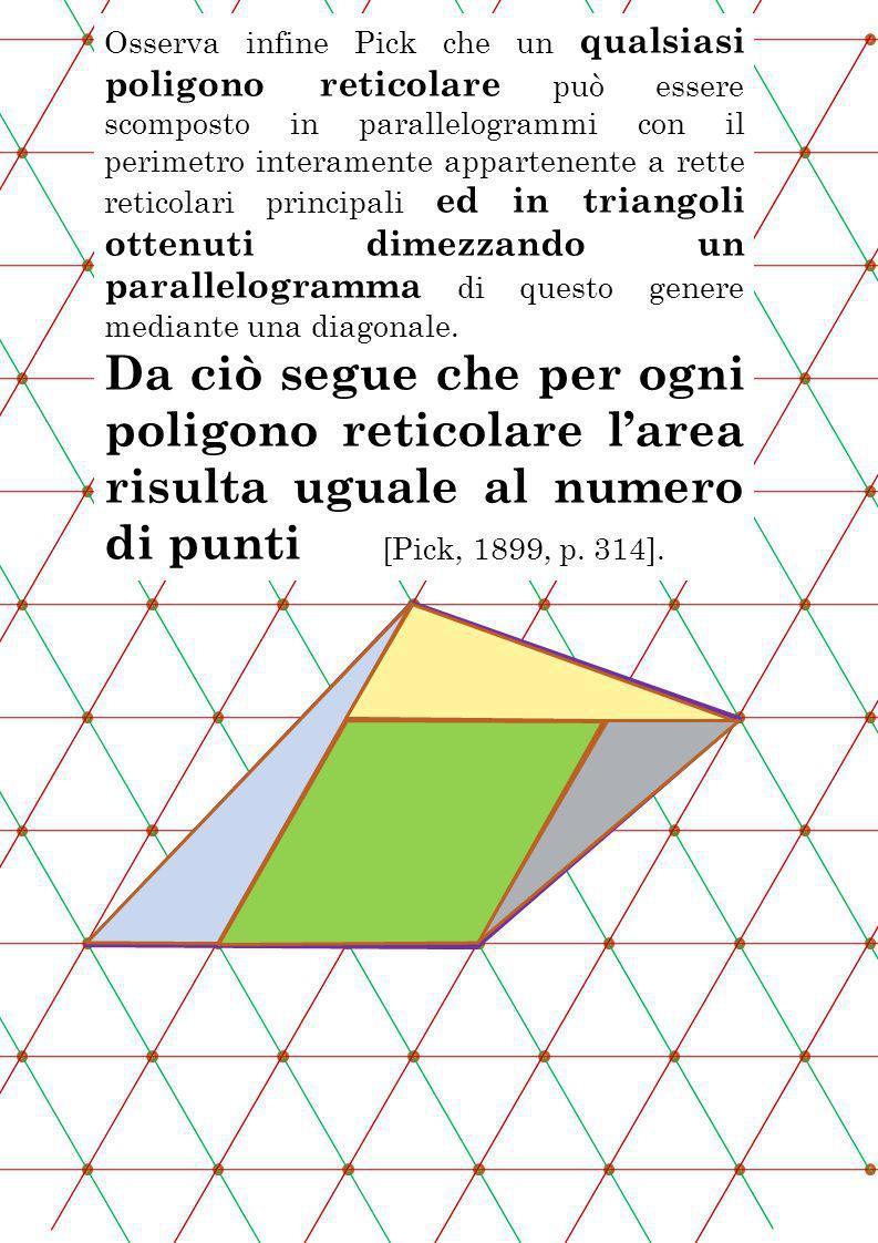 Osserva infine Pick che un qualsiasi poligono reticolare può essere scomposto in parallelogrammi con il perimetro interamente appartenente a rette ret