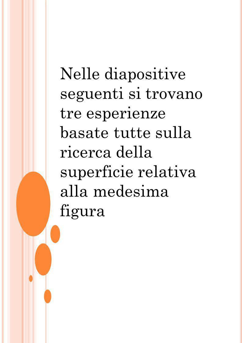 Nelle diapositive seguenti si trovano tre esperienze basate tutte sulla ricerca della superficie relativa alla medesima figura