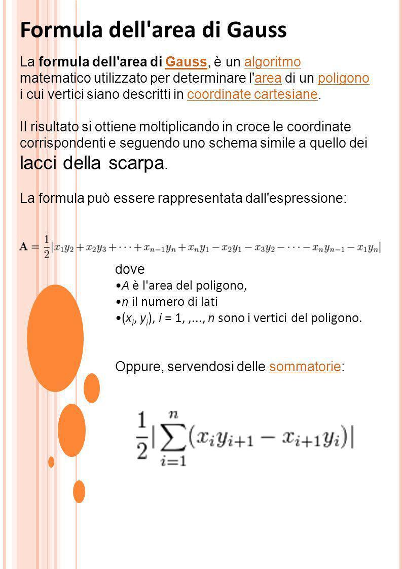 Formula dell'area di Gauss La formula dell'area di Gauss, è un algoritmo matematico utilizzato per determinare l'area di un poligono i cui vertici sia