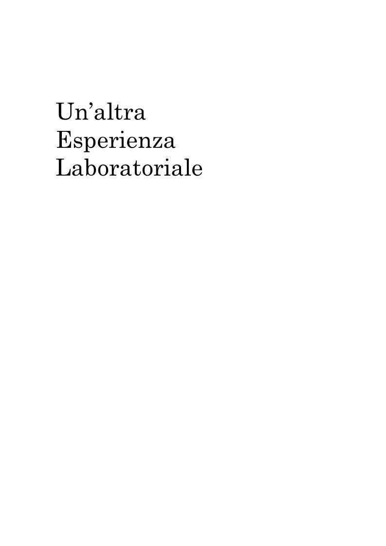 Unaltra Esperienza Laboratoriale