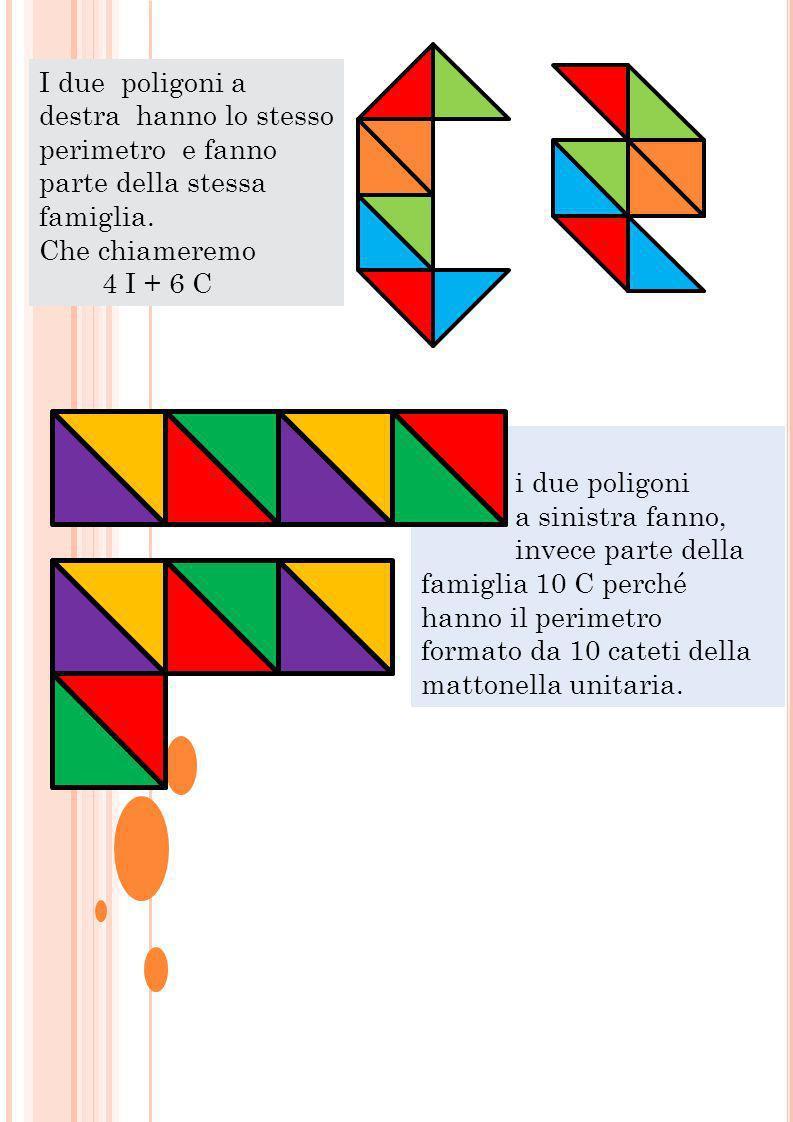 I due poligoni a destra hanno lo stesso perimetro e fanno parte della stessa famiglia. Che chiameremo 4 I + 6 C i due poligoni a sinistra fanno, invec