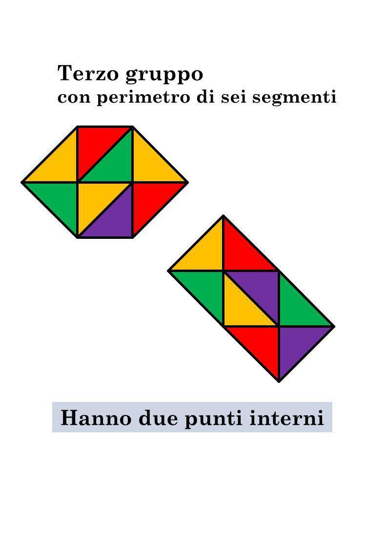 Terzo gruppo con perimetro di sei segmenti Hanno due punti interni