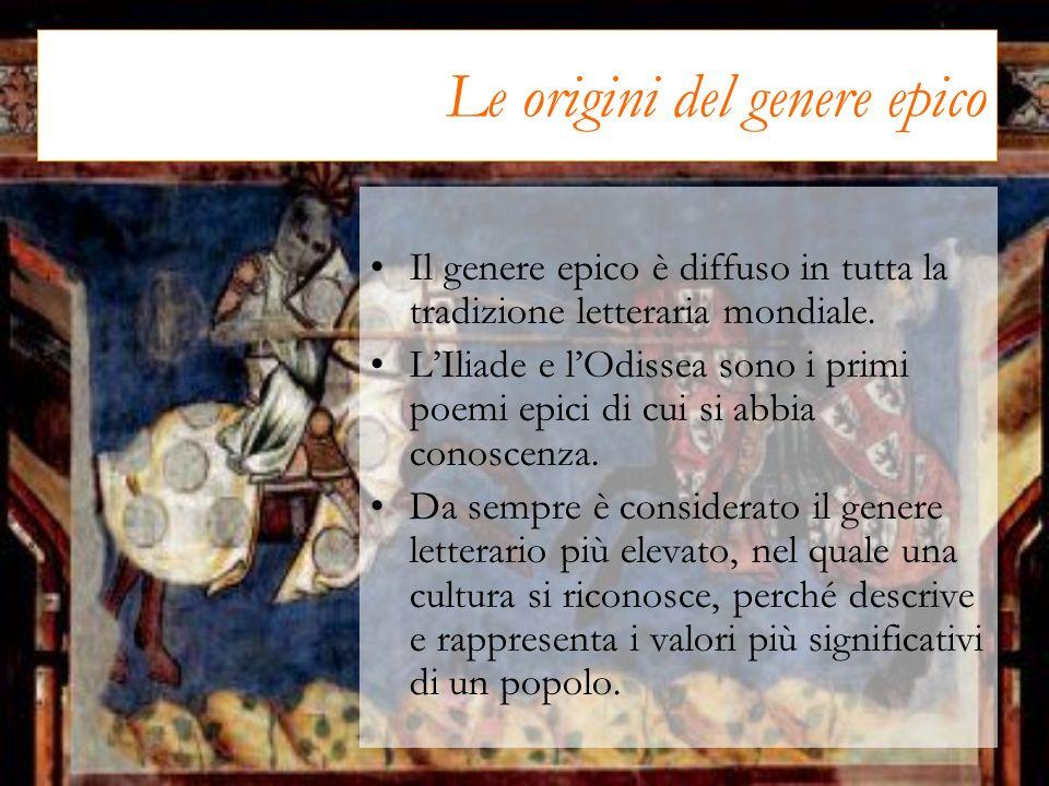 Le origini del genere epico Il genere epico è diffuso in tutta la tradizione letteraria mondiale. LIliade e lOdissea sono i primi poemi epici di cui s