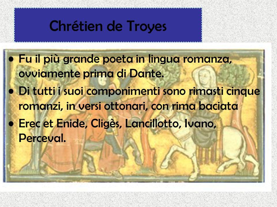 Chrétien de Troyes Fu il più grande poeta in lingua romanza, ovviamente prima di Dante. Di tutti i suoi componimenti sono rimasti cinque romanzi, in v