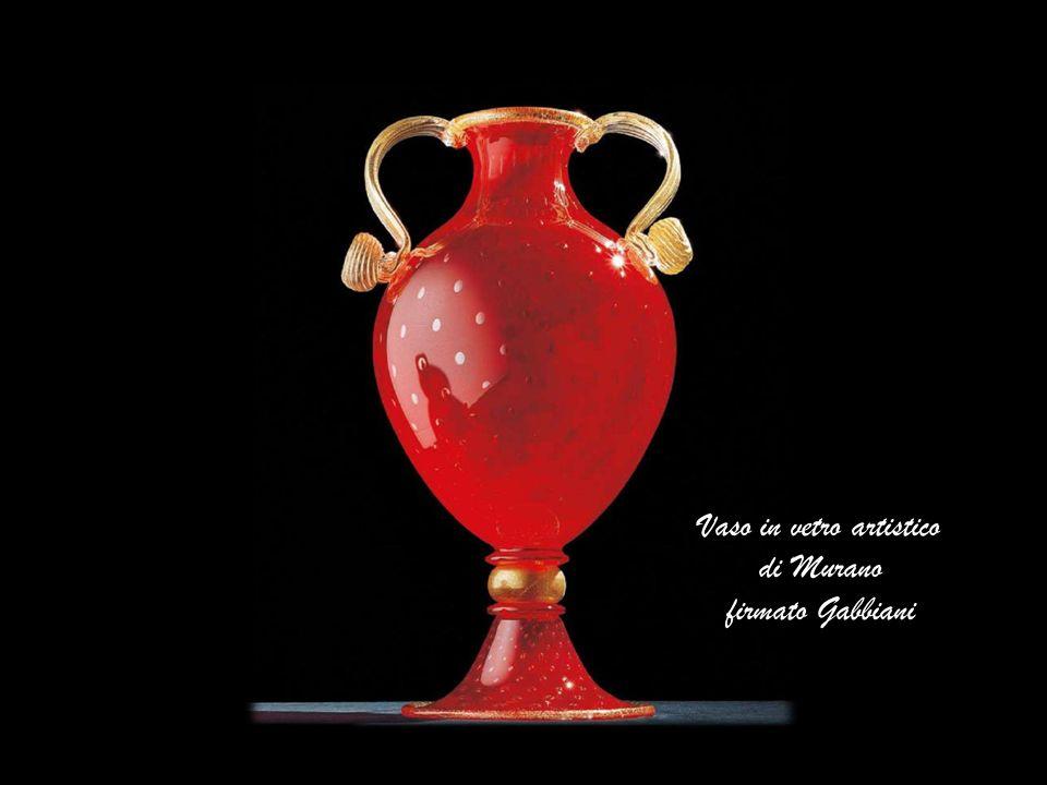 Vaso in vetro artistico di Murano firmato Gabbiani