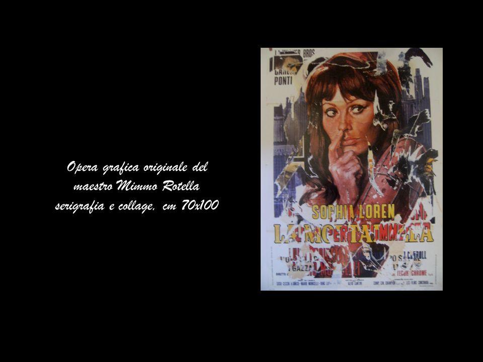 Opera grafica originale del maestro Mimmo Rotella serigrafia e collage, cm 70x100