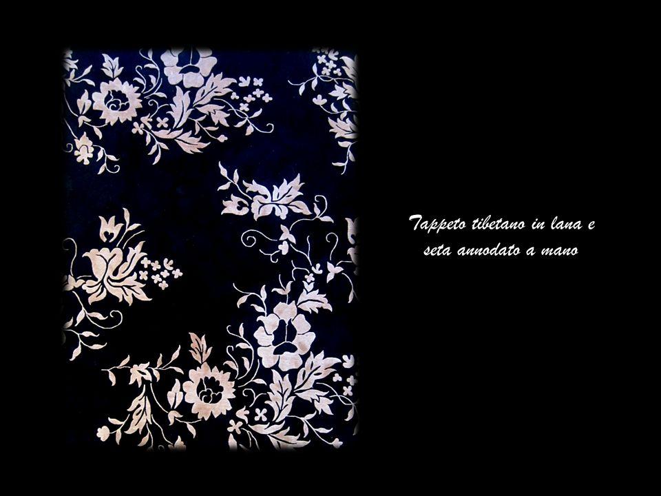 Tappeto tibetano in lana e seta annodato a mano
