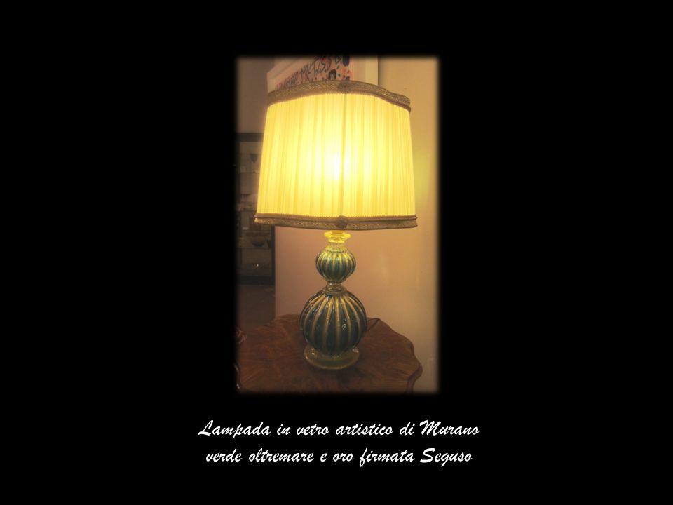 Lampada in vetro artistico di Murano verde oltremare e oro firmata Seguso