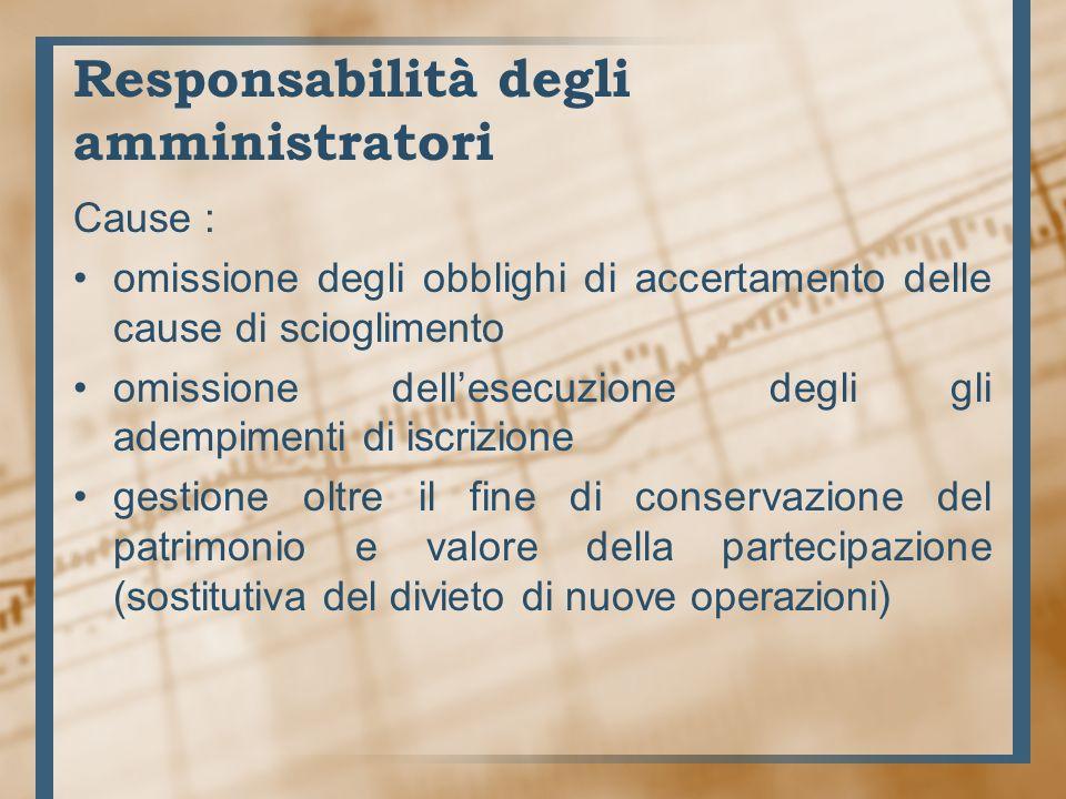 Responsabilità degli amministratori Nei confronti di soci creditori società terzi