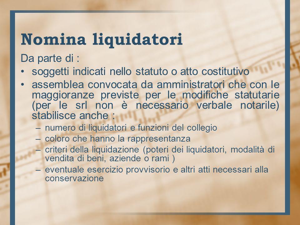 Nomina liquidatori Lassemblea inoltre, con le maggioranze per le modifiche statutarie può : modificare i criteri e le modalità della liquidazione revocare lesercizio provvisorio revocare i liquidatori.
