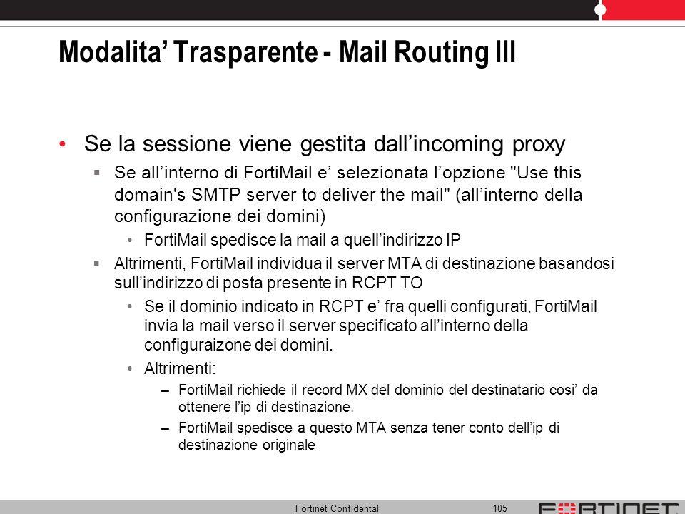 Fortinet Confidental 105 Modalita Trasparente - Mail Routing III Se la sessione viene gestita dallincoming proxy Se allinterno di FortiMail e selezion