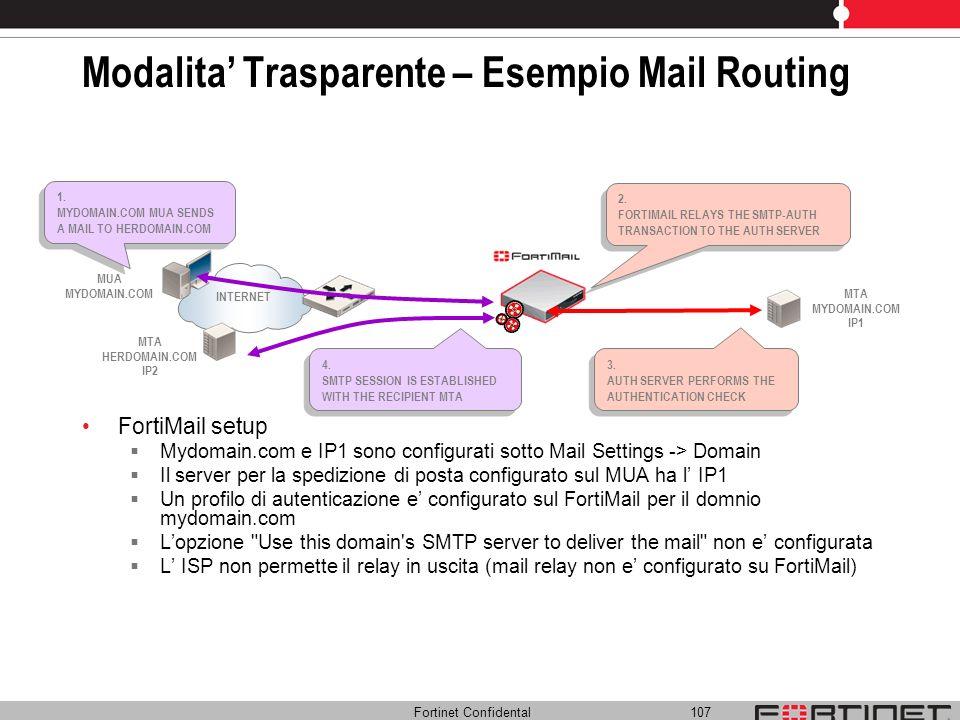 Fortinet Confidental 107 Modalita Trasparente – Esempio Mail Routing FortiMail setup Mydomain.com e IP1 sono configurati sotto Mail Settings -> Domain