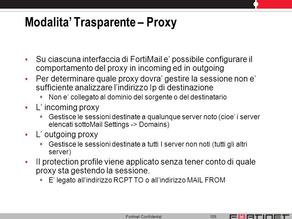 Fortinet Confidental 109 Modalita Trasparente – Proxy Su ciascuna interfaccia di FortiMail e possibile configurare il comportamento del proxy in incom