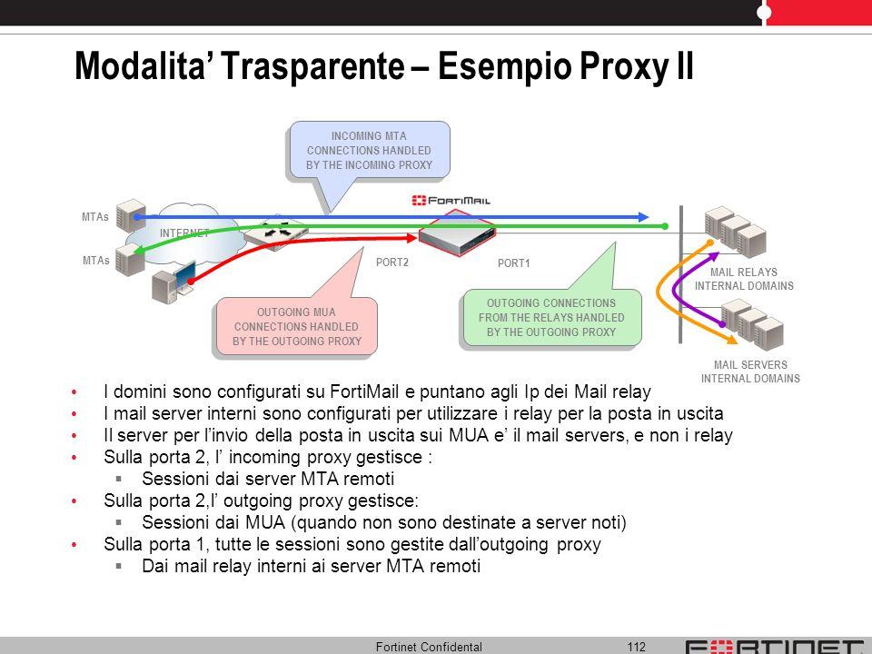 Fortinet Confidental 112 Modalita Trasparente – Esempio Proxy II I domini sono configurati su FortiMail e puntano agli Ip dei Mail relay I mail server