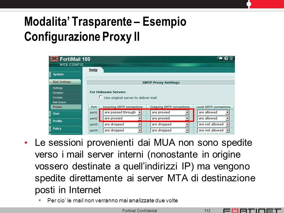 Fortinet Confidental 113 Modalita Trasparente – Esempio Configurazione Proxy II Le sessioni provenienti dai MUA non sono spedite verso i mail server i