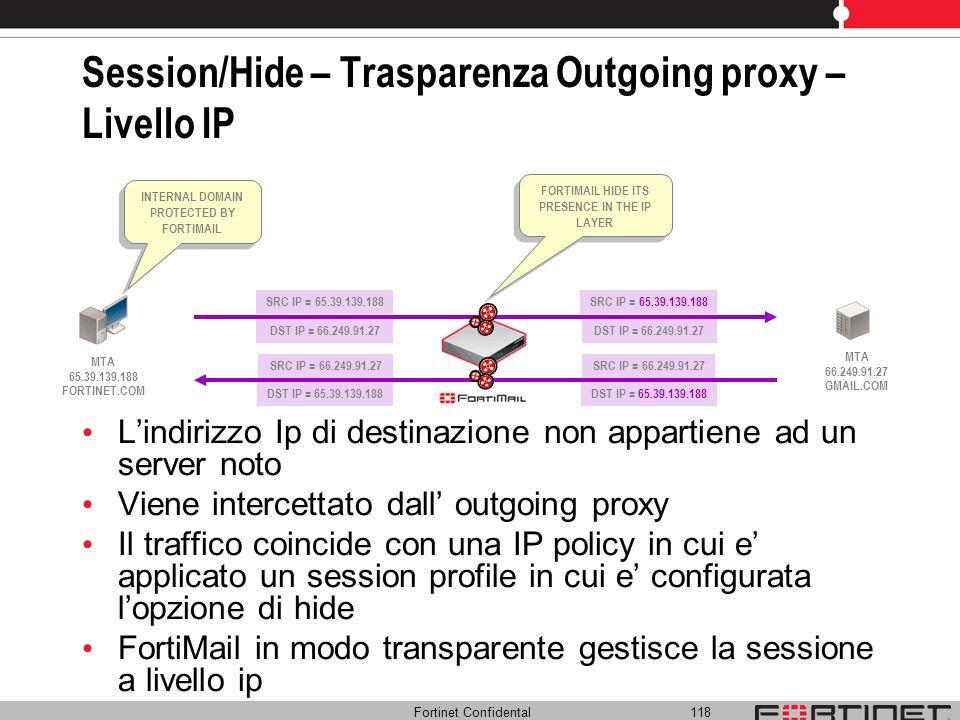 Fortinet Confidental 118 SRC IP = 66.249.91.27 DST IP = 65.39.139.188 Session/Hide – Trasparenza Outgoing proxy – Livello IP Lindirizzo Ip di destinaz