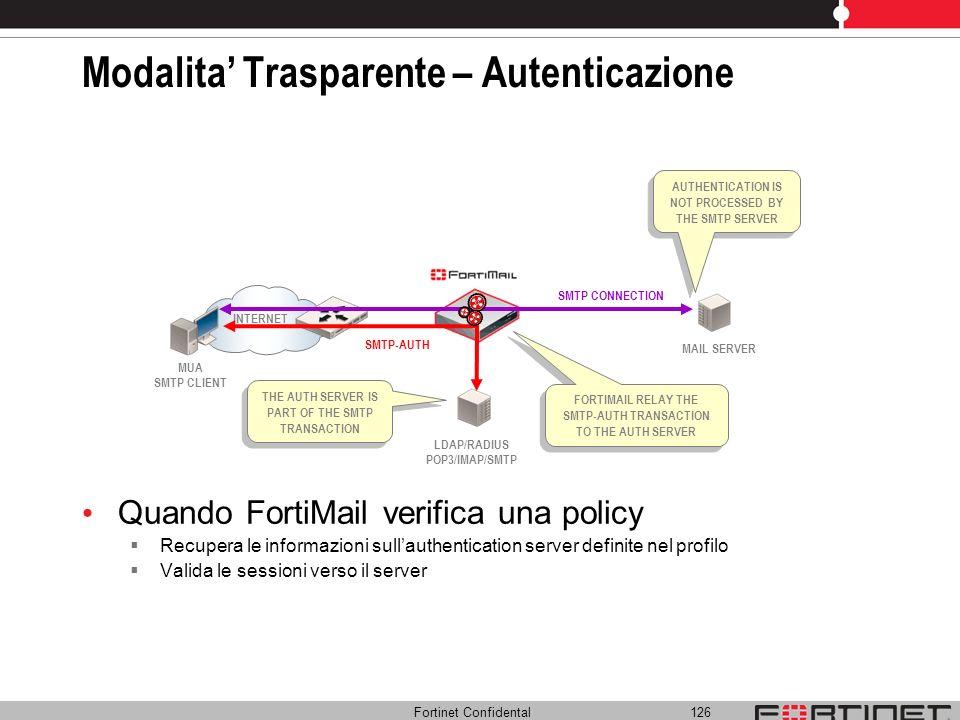Fortinet Confidental 126 Modalita Trasparente – Autenticazione Quando FortiMail verifica una policy Recupera le informazioni sullauthentication server