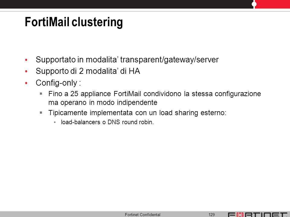 Fortinet Confidental 129 FortiMail clustering Supportato in modalita transparent/gateway/server Supporto di 2 modalita di HA Config-only : Fino a 25 a