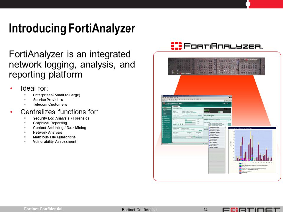 Fortinet Confidental 14 Fortinet Confidential Introducing FortiAnalyzer Ideal for: Enterprises (Small to Large) Service Providers Telecom Customers Ce