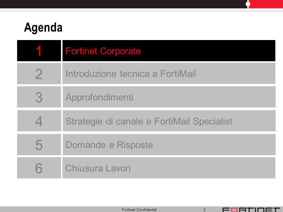 Fortinet Confidental 2 Agenda Fortinet Corporate Approfondimenti Introduzione tecnica a FortiMail Strategie di canale e FortiMail Specialist 1 2 3 4 D