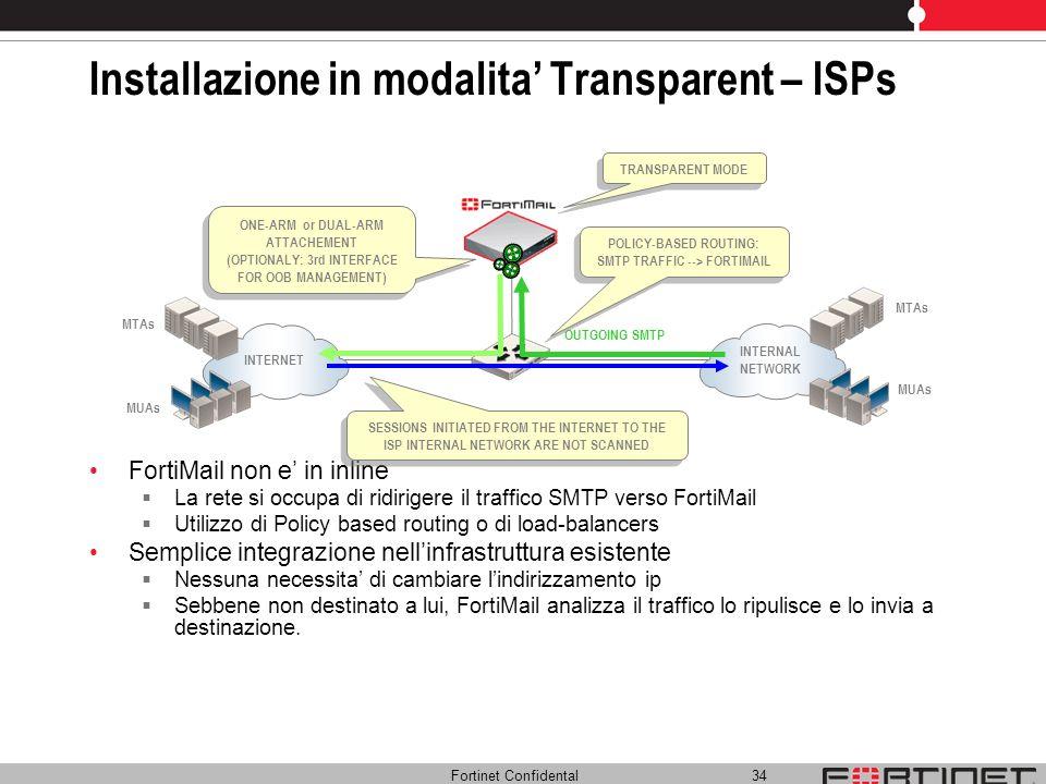 Fortinet Confidental 34 Installazione in modalita Transparent – ISPs FortiMail non e in inline La rete si occupa di ridirigere il traffico SMTP verso